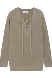 Allude Lace Up Wool And Cashmere Blend Sweater Army Green