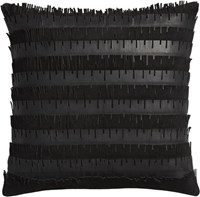 Cb2 Celia Leather Fringe 16 Pillow With Down Alternative Insert