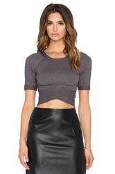 J.O.A. Short Sleeve Wrap Crop Top Gray