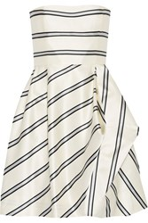 Halston Heritage Strapless Striped Satin Twill Mini Dress White