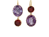Renee Lewis Women's Mismatched Mixed Gemstone Double Drop Earrings Gold