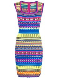 Milly Graphic Bodycon Dress Blue