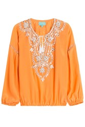 Taj Beaded Silk Top Orange