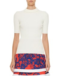 Carven Short Sleeve Ribbed Stretch Jersey Top White