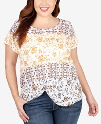 Lucky Brand Plus Size Mixed Floral Print T Shirt Medium Red