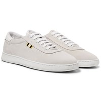 Aprix Leather Trimmed Suede Sneakers Off White