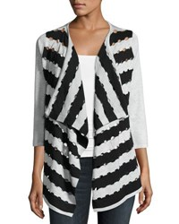 Neiman Marcus Cutout Two Tone Open Front Cardigan Gray Black