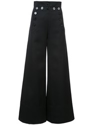 Chloe Flared High Waist Trousers Women Cotton Virgin Wool 36 Black