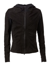 Lost And Found Hooded Leather Jacket Black