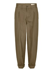 Topman Green Selected Homme Khaki Slim Worker Chinos