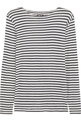 Nlst Striped Cotton And Cashmere Blend Top Blue