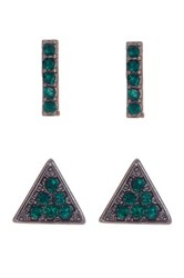 14Th And Union Geometric Stud Earrings Set Of 2 Green