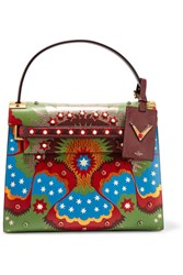 Valentino My Rockstud Large Patchwork Leather Tote Green