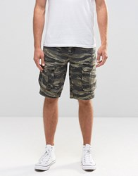 Asos Slim Mid Length Cargo Shorts In Khaki Khaki Green