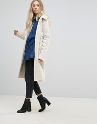 Goldie Firey Nights Faux Sheerling Long Coat With Front Pockets Cream