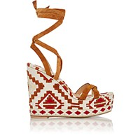 Gianvito Rossi Women's Southwestern Embroidered Wedge Sandals Brown