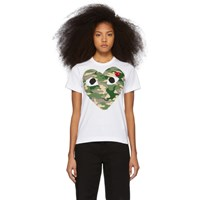 Comme Des Garcons Play White And Red Camo Heart T Shirt