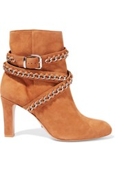 Schutz Chain Embellished Suede Ankle Boots Camel