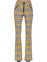 Veronica Beard Fraser Check Flared Pants Yellow Black