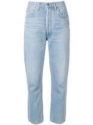 Citizens Of Humanity Striped Cropped Jeans Blue