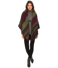 Echo Meadow Stripe Poncho Shawl Berry Women's Sweater Burgundy