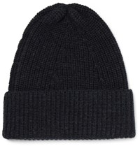 The Workers Club Ribbed Merino Wool Beanie Midnight Blue
