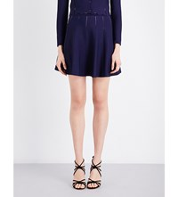 Sandro Open Knit Jacquard Mini Skirt Navy Blue