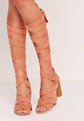 Missguided Strappy Wrap Around Block Heel Sandal Pink Pink