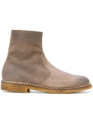 Maison Martin Margiela Suede Ankle Boots Men Leather Rubber 42 Brown