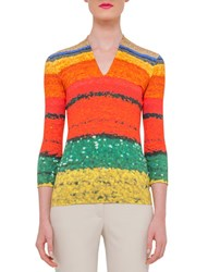 Akris 3 4 Sleeve Printed T Shirt Multi Color