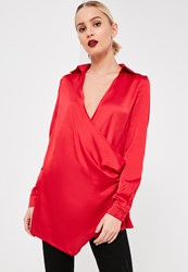 Missguided Red Wrap Satin Blouse