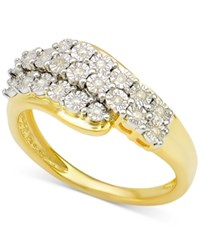 Macy's Diamond Cluster Ring 1 10 Ct. T.W. In 14K Gold Plated Sterling Silver Yellow Gold Plated