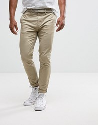 Pull And Bear Pullandbear Skinny Chinos With Belt In Stone Stone