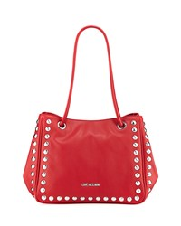 Love Moschino Studded Faux Leather Satchel Bag Red