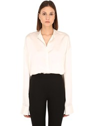 Haider Ackermann Oversize Silk Satin Shirt White