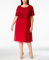R And M Richards Plus Size Lace Popover Dress