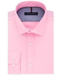 Tommy Hilfiger Men's Slim Fit Non Iron Solid Dress Shirt Pink