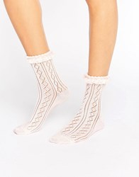 Asos Crochet Lace Frill Ankle Socks Pink