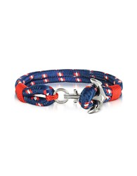 Forzieri Men's Bracelets Blue And Red Men's Rope Bracelet