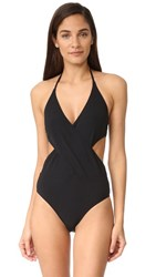 Tory Burch Solid Wrap One Piece Black