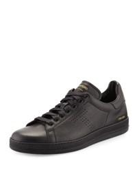 Tom Ford Warwick Grained Leather Low Top Sneaker Black