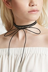 Forever 21 Faux Suede Layered Choker Black Silver