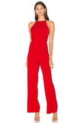 Lavish Alice Wrap Front Plunge Back Detail Wide Leg Jumpsuit Red