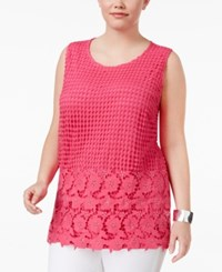 Inc International Concepts Plus Size Lace Shell Only At Macy's Intense Pink