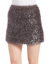 French Connection Eyelash Yarn Mini Skirt Silver
