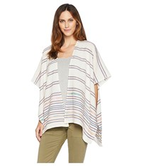 Collection Xiix Blanket Stripe Fringed Topper Navy Clothing