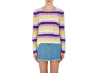 Marc Jacobs Women's Striped Cable Knit Cashmere Sweater Purple
