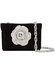 Oscar De La Renta Gardenia Embellished Cross Body Bag Black