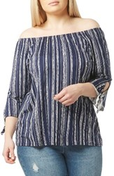 Evans Plus Size Women's Off The Shoulder Stripe Top Navy White