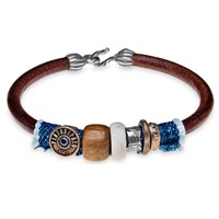 Platadepalo Brown Leather Bracelet With Denim Silver Bronze Resin And Wood